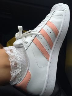 Image about pink in adidas Sock Shoes, Cute Shoes, Me Too Shoes, Women's Shoes, Pink Beige, Adidas Superstar, Adidas Tumblr Wallpaper, Frilly Socks, Peach Aesthetic