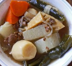 """a humble Japanese Vegetable Stew, is a New Years staple for many households in Hawaii. There are probably as many different Nishime recipes as there are Families, and you are sure to find Nishime at almost any New Years """"spread"""" in Hawaii. Japanese New Year Food, Japanese Dishes, Okinawa Food, Yummy Vegetable Recipes, Hawaiian Dishes, Homemade Ramen, New Year's Food, Vegetable Stew, Japanese Recipes"""