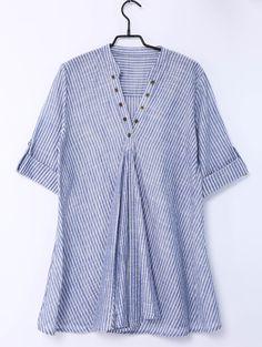 Trendy Pinstriped Short Sleeve Blouse For Women