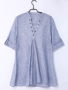 Trendy Pinstriped Short Sleeve Blouse For Women