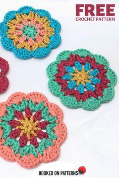 MANDALA CROCHET PATTERN  - Multi colored coaster design from Ling Ryan #Coasters #Crochet #CrochetPatterns #Mandala Modern Crochet Patterns, Christmas Crochet Patterns, Crochet Patterns For Beginners, Crochet Ideas, Crochet Projects, Free Crochet, Crochet Mandala, Crochet Flowers, Double Crochet