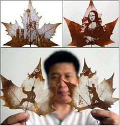 LEAF CARVING     As the name suggests, leaf carving consists of literally carving an image on to a tree leaf, specifically the leaf of the Chinar tree, a tree native to India, Pakistan and China that bears a close resemblance to the leaf on the maple tree
