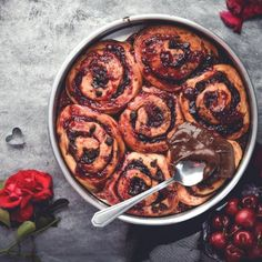 Black Forest Chocolate Chip Morning Buns! These chocolate cherry temptations are perfect for Valentine's Day breakfast!