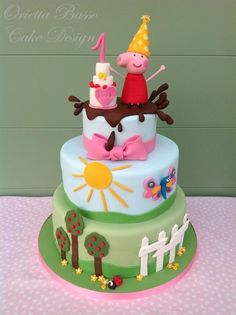 Peppa Pig Cake Ideas - Peppa Cake (By Orietta Basso) Birthday Party Cake, Peppa Pig, George Pig, Daddy Pig, Mummy Pig, Peppa House, Muddy Puddle, Red Car, Dinosaur