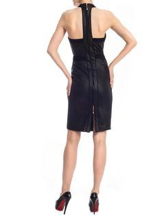 Leather Textured Halter Dress