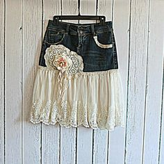 Upcycled Womens Jean Skirt / Romantic Shabby Clothing / Tattered Rose Lace Skirt - Jean Skirts - Ideas of Jean Skirts Diy Clothing, Sewing Clothes, Baby Clothes Brands, Clothes For Women, Denim Ideas, Denim Crafts, Rose Lace, Denim And Lace, Recycled Denim