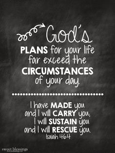 Free Chalkboard Printable: God's Plans for your life - Isaiah 46:4 - via swtblessings.com
