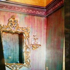 Powder room.  4 color glaze base with gold and bronze over glaze.  Gilded cove ceiling.  by k.beck