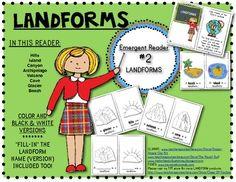 LANDFORMS: Emergent Reader Book #2: Social Studies Kindergarten or First Grade. $