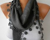 Gray Scarf - Pashmina Scarf - Headband Necklace Cowl with Lace Edge