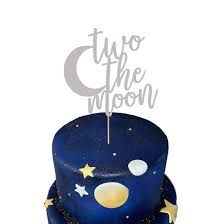 50th Birthday Cake Images, 2 Birthday, Happy Birthday Cake Topper, Themed Birthday Cakes, 2nd Birthday Parties, Moon Party, Moon Cake, Party Supplies, Planet Cake