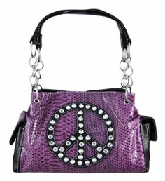 Purple Snakeskin Peace Sign Studded Handbag Black « Clothing Impulse