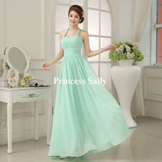 Mint Green Bridesmaid Dress Chiffon Halter Sweetheart Prom Party Vestido De Noiva Dress For Bridesmaids Long Cheap Under 50