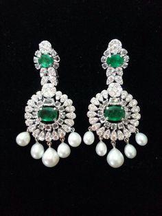 Beautiful diamond, emerald and pearl earrings