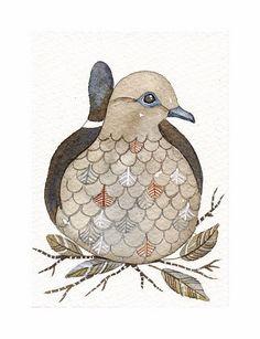 Bird No.34   Bird ACEO Art Print of my original by lorisworld