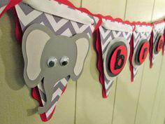 Baby Shower Chevron Decoration. Elephant by BeantownBabyCrafts, $64.00