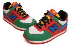 NEW BALANCE KJ574LGP (Youth)    White / Green / Red / Blue / Yellow    Description   Classic retro-style running shoe with a great look and durable upper.  A Solid Rubber Outsole provides long-wearing durability  EVA (Ethyl Vinyl Acetate) foam midsole for cushioning  Synthetic/Leather upper provides lightweight comfort and support