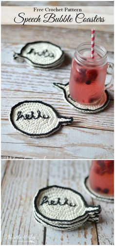 I have rounded up some of the best and interesting free crochet decor patterns for your home.Crochet Speech Bubble Coasters