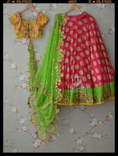 green red n ylw combo lehanga Half Saree Designs, Choli Designs, Lehenga Designs, Blouse Designs, Half Saree Lehenga, Anarkali Dress, Bridal Lehenga, Lehenga Gown, Indian Lehenga