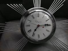 Mid-century vintage chrome Ingraham starburst wall clock Mid Century Modern Furniture, Clocks, Mid-century Modern, Chrome, Wall, Vintage, Home Decor, Decoration Home