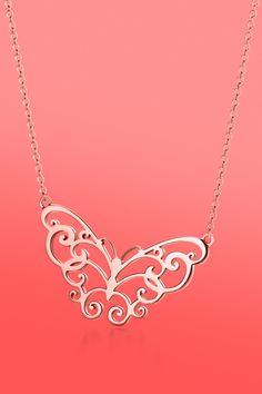 Love takes wing. Tiffany Enchant® butterfly pendant in RUBEDO® metal. #TiffanyPinterest