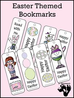 Easter Themed Bookmarks  - 2 pages of printable bookmarks - 3Dinosaurs.com