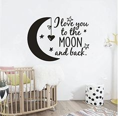 Wall Decal Quotes I Love you to the moon and back Kids Bedroom Decor Wall Sticker Art Vinyl Nursery Bedroom Wallapper (BLACK)