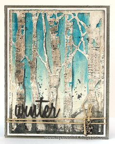 Layers of ink - Winter Birch Trees Tutorial by Anna-Karin. With Sizzix dies by Tim Holtz, Ranger inks, paints and surfaces and Sizzix Paper Leather.