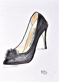 Fashion sketch:  Original pen and ink shoe illustration Manolo II via Etsy