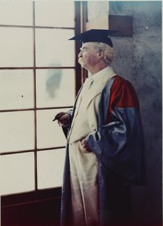 "Mark Twain in his Oxford University robes, by Alvin Langdon Coburn, ca. 1909 --- These are rare photos of Mark Twain in color (early Autochrome).  Autochrome is an additive color ""mosaic screen plate"" process. The medium consists of a glass plate coated on one side with a random mosaic of microscopic grains of potato starch dyed red-orange, green, and blue-violet (an unusual but functional variant of the standard red, green, and blue additive colors) which act as color filters. #marktwain"