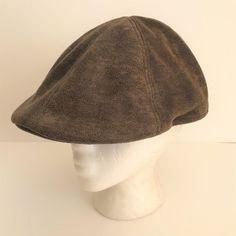 8dbe33c5258 Details about Henschel Hat Co Mens Brown Polyester Newsboy Distressed Cap XL