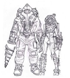 Fan art of Bioshock Subject Delta and Eleanor Lamb ( in her Big Sister Suit ) Bioshock Game, Gamer Tattoos, Gamer Tags, Steampunk, Mermaid Coloring Pages, Man Cave Art, Fantasy Warrior, Final Fantasy, Bioshock Infinite