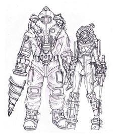 Fan art of Bioshock 2's Subject Delta and Eleanor Lamb ( in her Big Sister Suit )