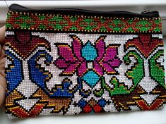 This floral embroidery means Mascot - Toumor in Uzbek language. Embroidery Purse, Floral Embroidery, Uzbek Language, Cross Stitch, Silk, Purses, Rugs, Hand Bags, Handmade