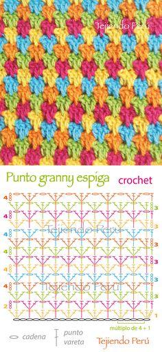 Crochet: diagrama del punto granny espiga! Es una variación del punto granny normal :)