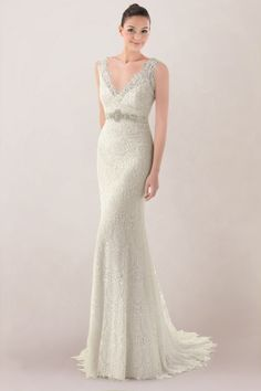 Vogue Sheath Wedding Gown Featuring Lace Overlay and Beaded Motifs