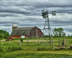 """Reminds me of my grandparents' """"notforgotten""""farm when it was in its prime.the huge red barn, the sounds of that slowly turning windmill . Country Barns, Country Life, Country Living, Country Roads, Old Windmills, Barns Sheds, Old Farm Houses, Farm Barn, Country Scenes"""