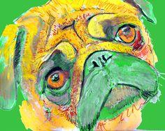 Pug Dog Print,Pug Art, Yellow pug gift, Pug gift,colorful Pug, dog art, Dog wall art, Pug lover gift, Downloadable Pug… #dogs #pets #puppy