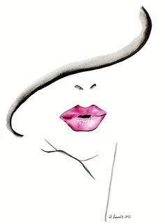 - Fashion Illustration print by Helen Simms titled The Lipstick Conundrum, from simple watercolour, stylish, unique gift for her via Etsy Fashion Illustration Face, Illustration Mode, Design Illustrations, Fashion Prints, Fashion Art, Face Fashion, Trendy Fashion, Fashion Ideas, Fashion Design