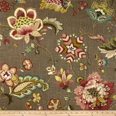 P Kaufmann Ophelia Carob from @fabricdotcom  Screen-printed on a linen/rayon blend fabric, this versatile heavyweight fabric is perfect for window treatments (draperies, valances, curtains and swags), toss pillows, duvet covers, pillow shams, slipcovers and upholstery. Colors include teal, lime, kiwi, beige and a dark taupe background.