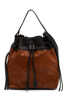 d8330db3440 Classic Christopher Kon Geniune Hair Calf   Leather Drawstring Bag Caramel,  Leather Drawstring Bags,