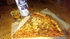 Love their P B & J special ~ Pizza, Beer (PBR tall boy) and Jamo ...