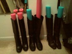 pool noodles in boots / 24 Easy Ways To Get Your Home Ready For Winter
