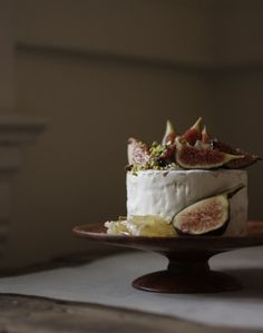 Sometimes the best dessert of all...figs and cheese....serve it on a cake stand and call it dessert! Yum!