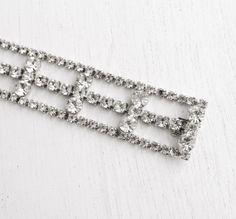 Vintage Statement Clear Rhinestone Bracelet - Silver Tone 1950s Hollywood Regency Bridal Costume Jewelry / Faux Diamond Triple Strand by Maejean Vintage on Etsy, $42.00