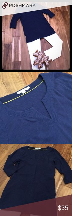 BODEN tunic US size 6, navy, 3/4 sleeves, tunic length, cotton top. Stitch detail at the neck. Wear this with skinny jeans for a comfy casual look. Excellent condition. Pet/smoke free. **wedges and white denim for sale in my closet** Boden Tops Tunics