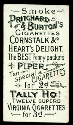 Designspiration — All sizes | Cigarette Card Back - Pritchard & Burton | Flickr - Photo Sharing!