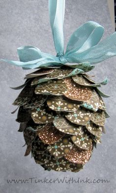 Pinecone Ornaments...Learn How To Make This Ornament Easily With Card Stock Of Your Choice Of Colors & A Styrofoam Egg...Click On Picture For Tutorial...