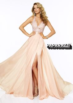 Flirty Lace Chiffon Halter Prom Dress in Blush - Paparazzi by Mori Lee 97018 - RissyRoos.com