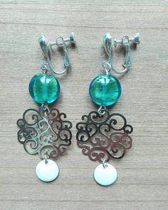 Perles de Murano vertes avec des reflets bleus, longueur:  6,5 cm - ref: bo 300- 19€